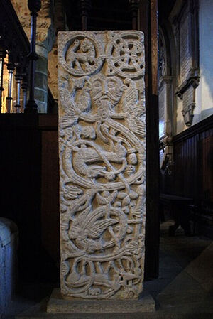 Carved stone thought to be St. Ragener's grave slab at St. Peter's Church in Northampton, Northants. Photo provided by Jean Hawkins