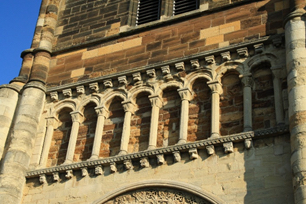 Detail of Romanesque stonework c. 1170 on the tower of St. Peter's Church in Northampton, Northants. Photo provided by Jean Hawkins