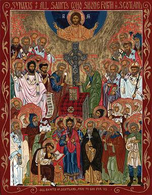 Икона «Собор святых Шотландии» - среди них есть прп. Эбба