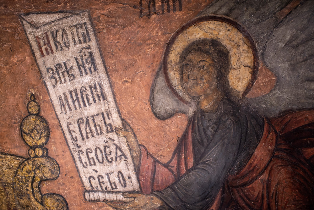 «Σάββατο του Ακάθιστου». Ο Άγγελος με το απόσπασμα του Ακαθίστου Ύμνου