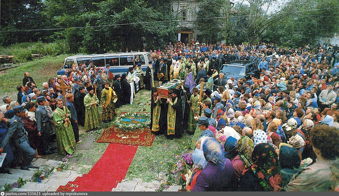 The second finding of the relics of St. Seraphim of Sarov in 1991