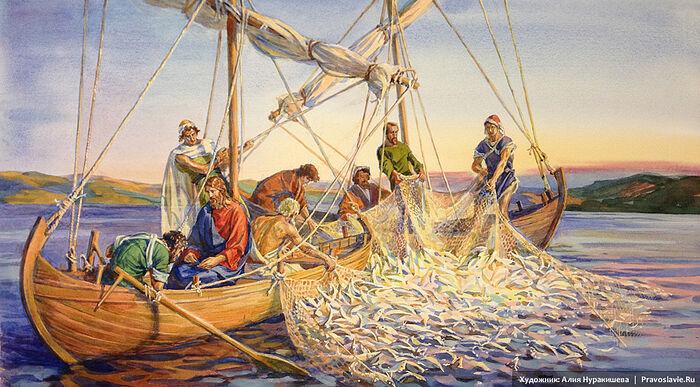Чудесный улов рыбы. Художница: Алия Нуракишева / Православие.Ru