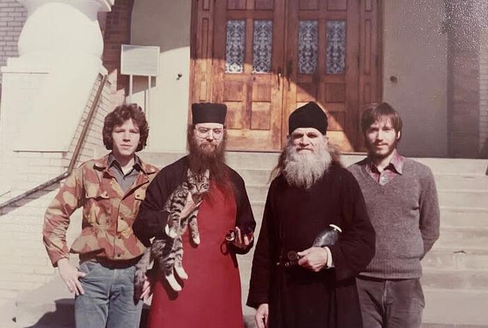 Слева направо: Павел Бутенко, иеромонах Никифор, игумен Гурий, Павел Волменский. Джорданвилль, 1981 г.