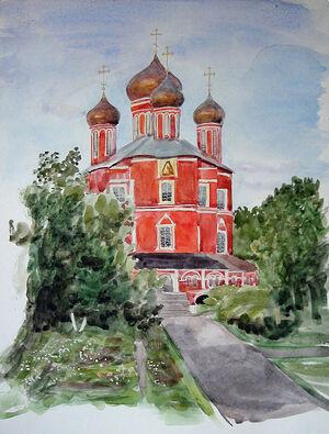 Н.П. Ермакова. Вид из окна келлии на Большой собор. 1994
