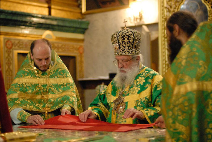 Владыка Лавр (Шкурла) и протоиерей Серафим Ган в Почаеве