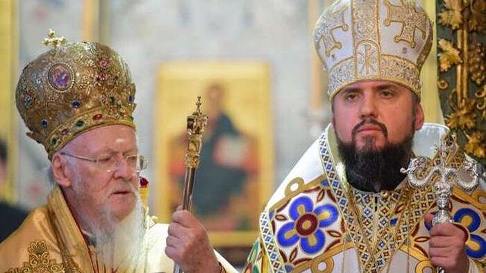 Patriarch Bartholomew and Epiphany Dumenko, the head of the OCU schismatics