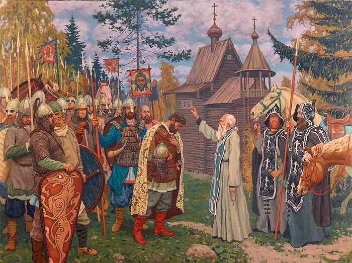St. Sergius blessed St. Dmitry for the Battle of Kulikovo. Artist: Pavel Popov
