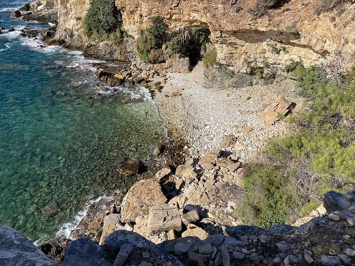 The pebble beach where the path meets the sea