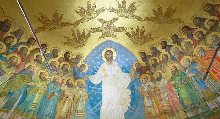 Алтарная фреска Новомучеников и Исповедников нового собора Сретенского монастыря