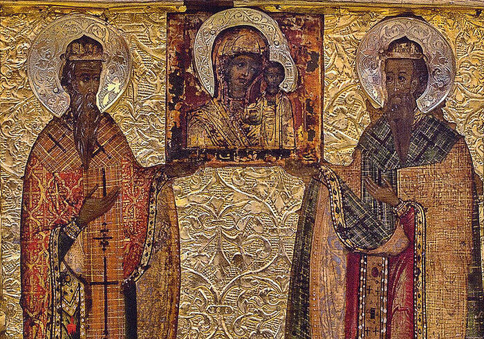 St. Gurius, Archbishop of Kazan and Svyazh, and Barsonuphius, Bishop of Tver and Kashin. Moscow, 17th c.
