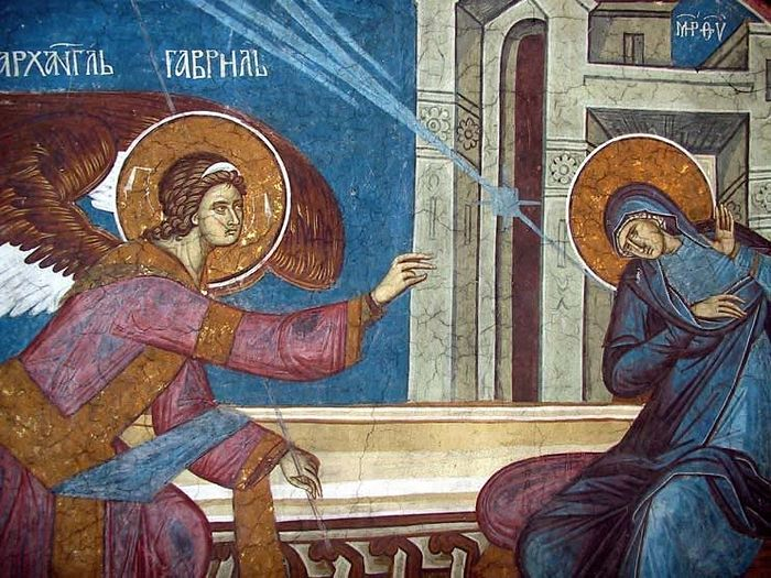 The Annunciation (fresco). Vysoki Decani Monastery (Kosovo, Serbia), 14th c.