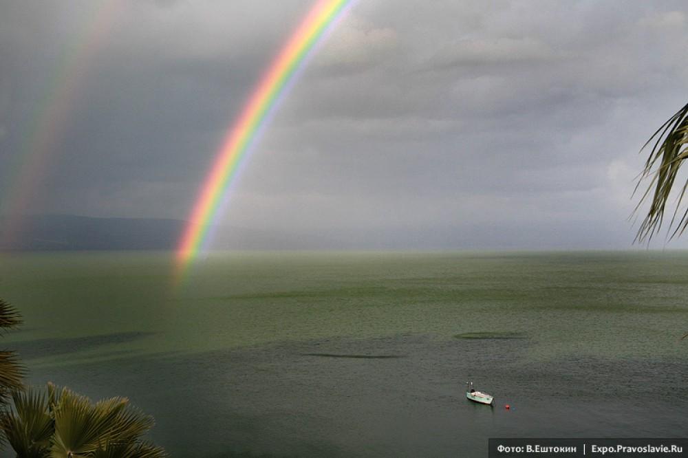 Ουράνιο τόξο πάνω από τη λίμνη της Γαλιλαίας