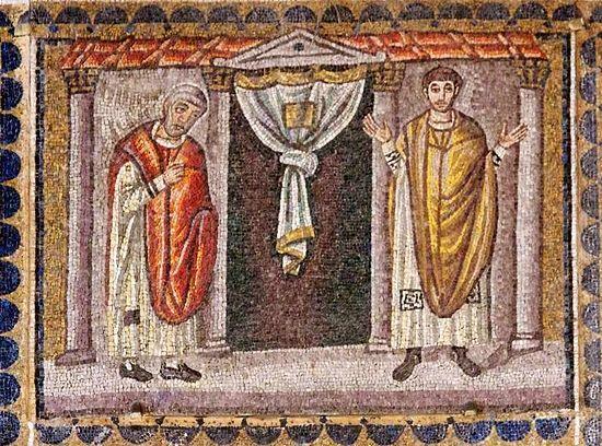 Мытарь и фарисей. Мозаика в Равенне