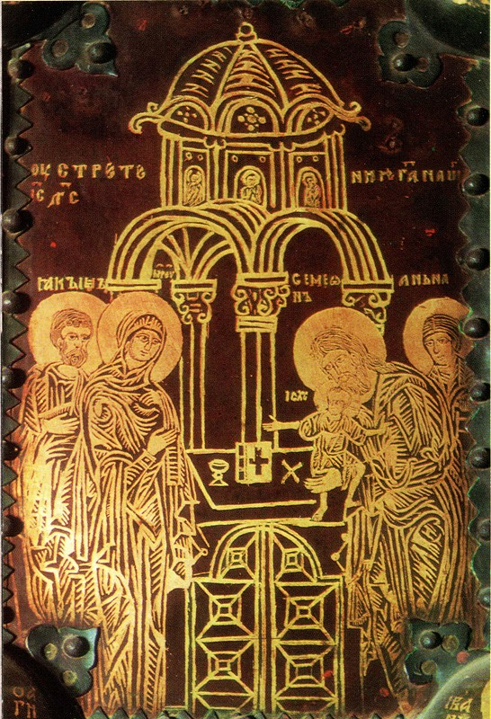 Деталь Васильевских врат, 1336 г. Техника золотой наводки на меди