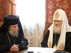 Patriarch Kirill receives delegation of the Patriarchate of Jerusalem