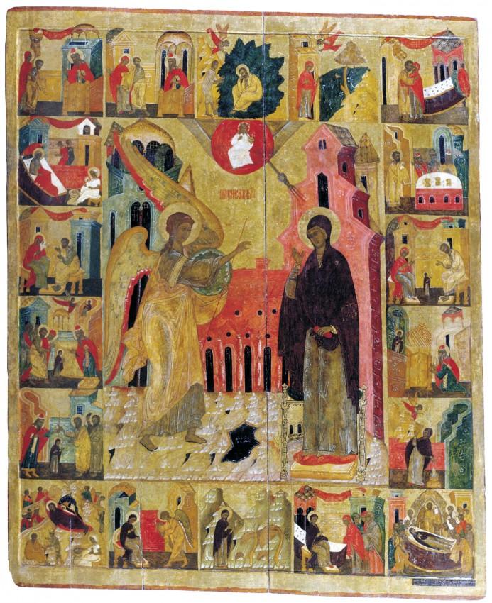 Благовещение с клеймами жития Богоматери. XVI век. Сольвычегодский музей