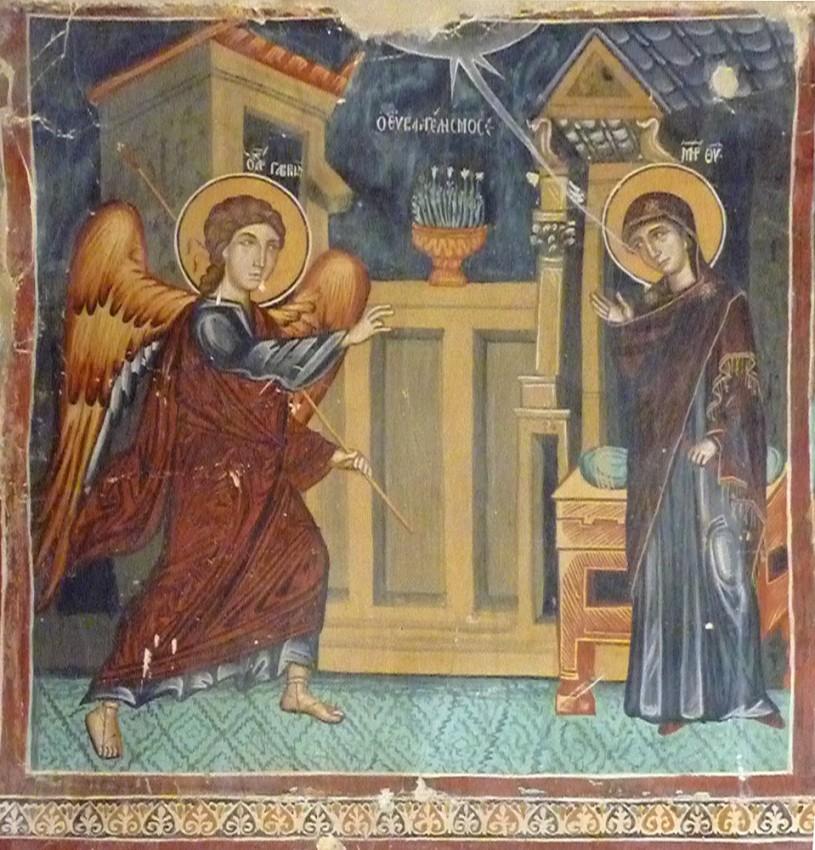Благовещение. Фреска православного храма на Кипр