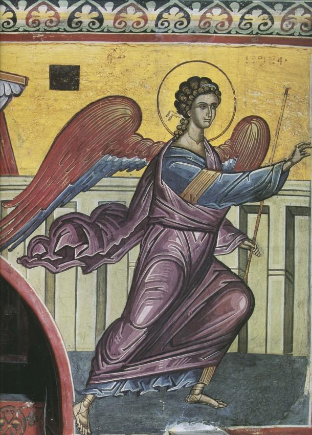 Благовещение, Архангел Гавриил. XVI в. Афон, монастырь Дионисиат