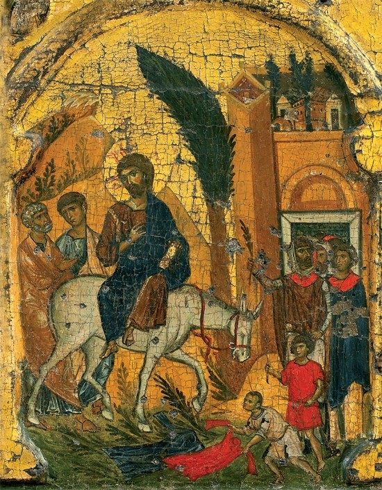 The Entry of the Lord into Jerusalem. Icon in Vatopedi Monastery, Mt. Athos.