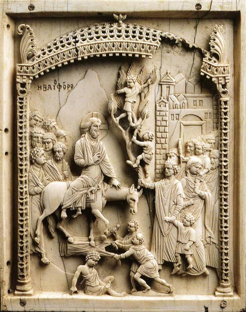 The Entry of the Lord into Jerusalem. 10th c. ivory carving. Museum of Byzantine Art, Berlin.