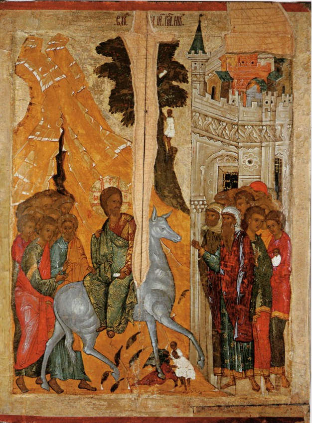 The Entry of the Lord into Jerusalem. The Pkov state united historical-architectural and art museum. 15th c.