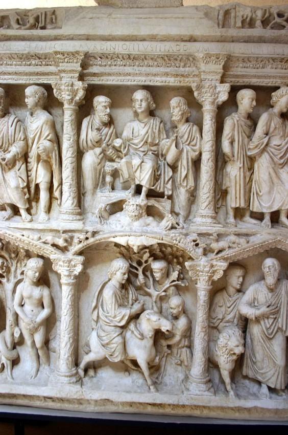 Вход Господень в Иерусалим. Фрагмент барельефа саркофага Юния Басса. 359 г. Ватикан
