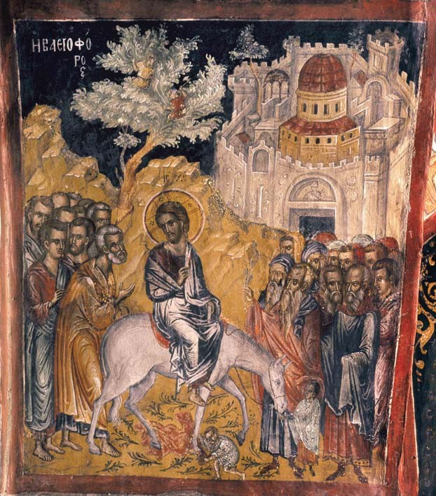 The Entry of the Lord into Jerusalem. Fresco by St. Theophan of Crete. Meteora, Church of St. Nicholas.
