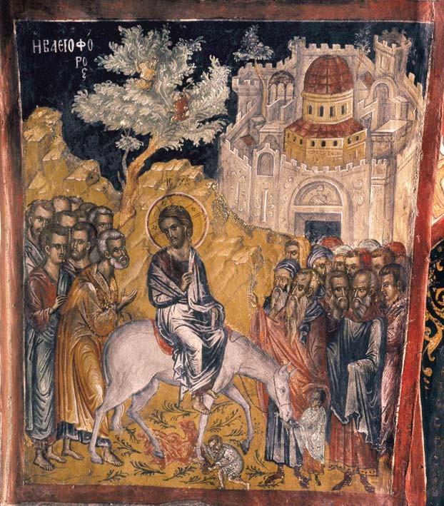 Вход Господень в Иерусалим. Фреска работы Феофана Критского. Метеора, церковь св. Николая