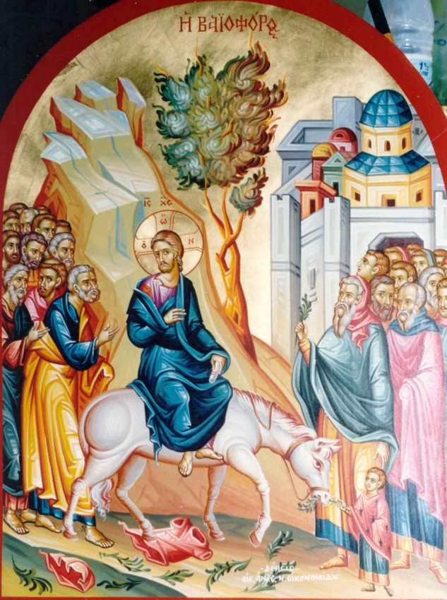 The Entry of the Lord into Jerusalem. Modern Greek icon.
