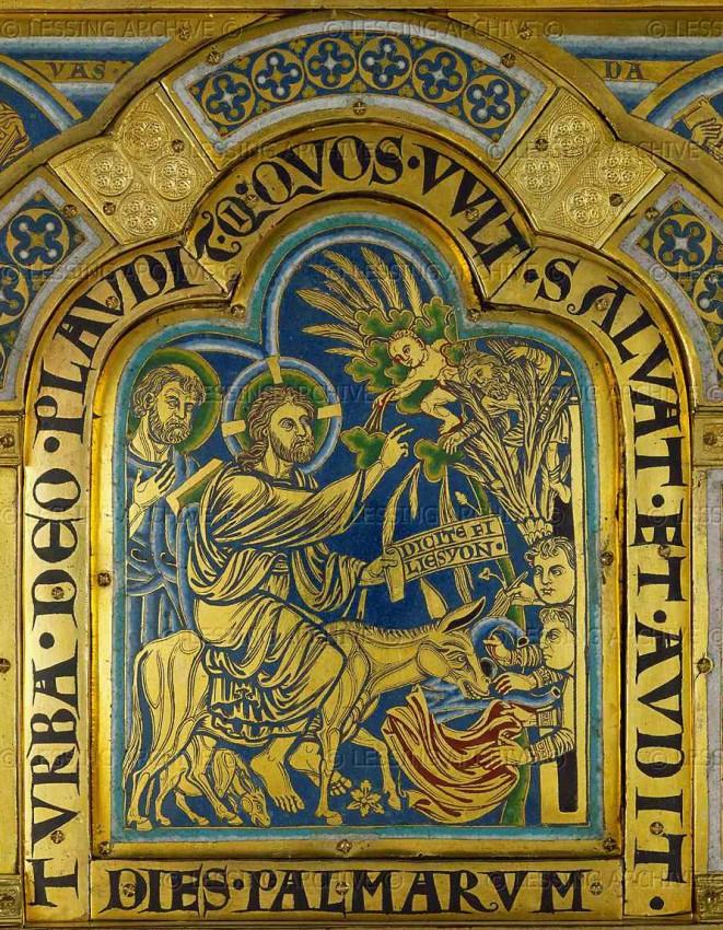 Вход Господень в Иерусалим. Эмаль. Николай Вердунский. 1181 г.