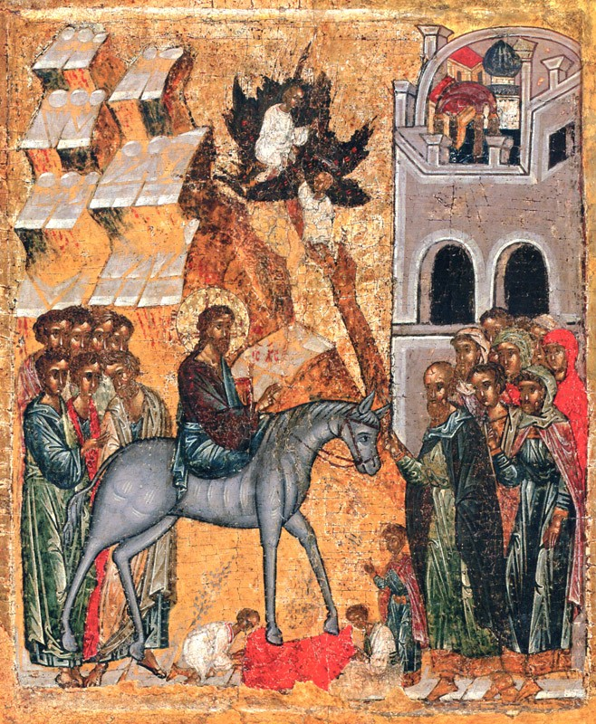The Entry of the Lord into Jerusalem. Novgorod. Second quarter of 15th c.