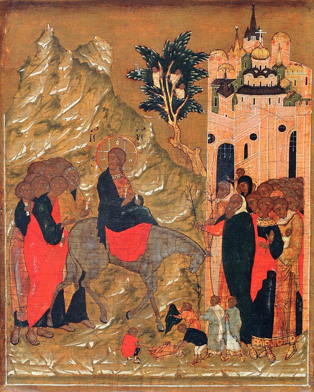 The Entry of the Lord into Jerusalem. Moscow, late 16th c.