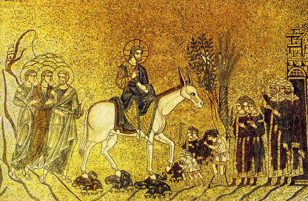 The Entry of the Lord into Jerusalem. Mosaic, Cathedral of St. Mark, Venice, Italy.