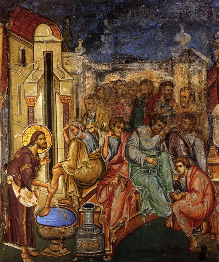 Holy and Great Thursday. Washing the feet of the Apostles. Early 14th c. Fresco in Vatopedi Monastery, Mt. Athos.