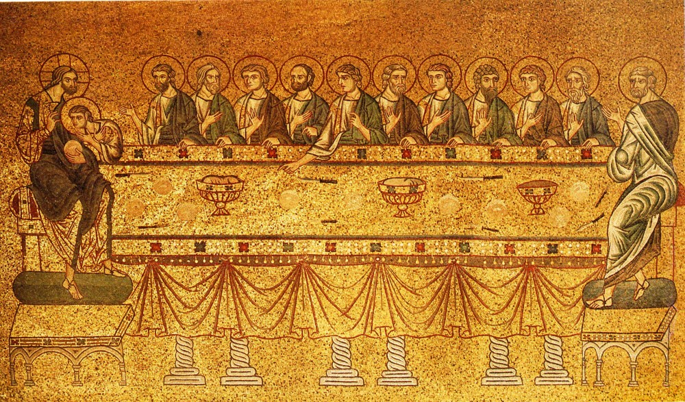 Holy and Great Thursday. The Mystical (Last) Supper. Mosaic in the Cathedral of St. Mark, Venice.