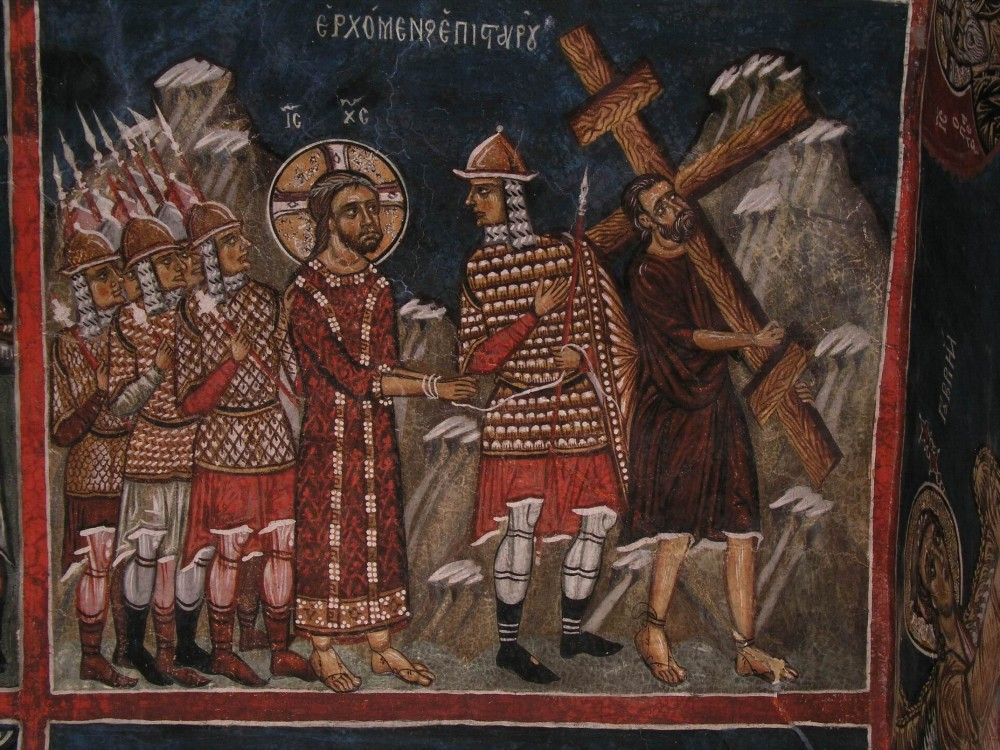 Holy and Great Friday. Simon the Cyrenean helps the Lord carry His cross. Fresco in Cyprus.