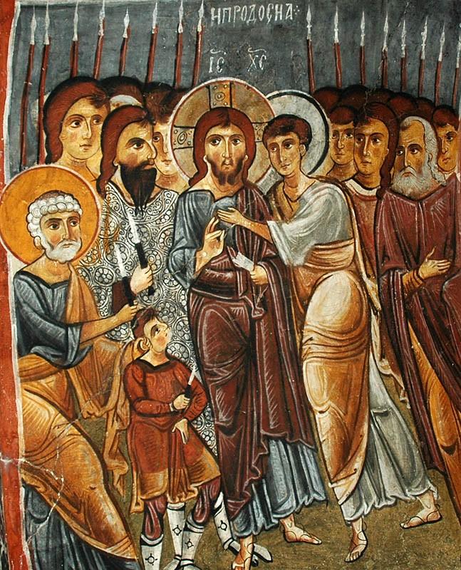 Великая Пятница. Поцелуй Иуды.  Пещерная церковь, Каппадокия. XI в.