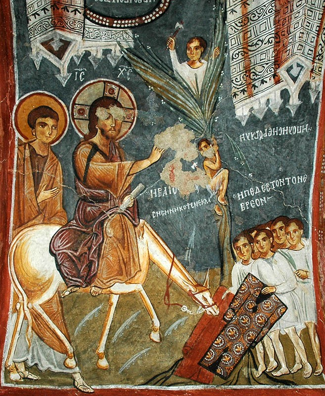 The Entry of the Lord into Jerusalem. Cave church, Cappadocia. 11th c.