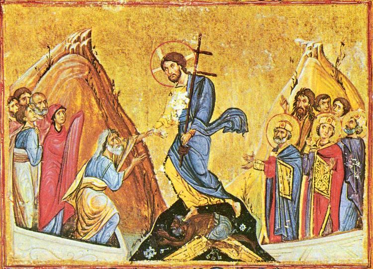 Сошествие Христа во ад. Византийская миниатюра. Монастырь Дионисиат, Афон