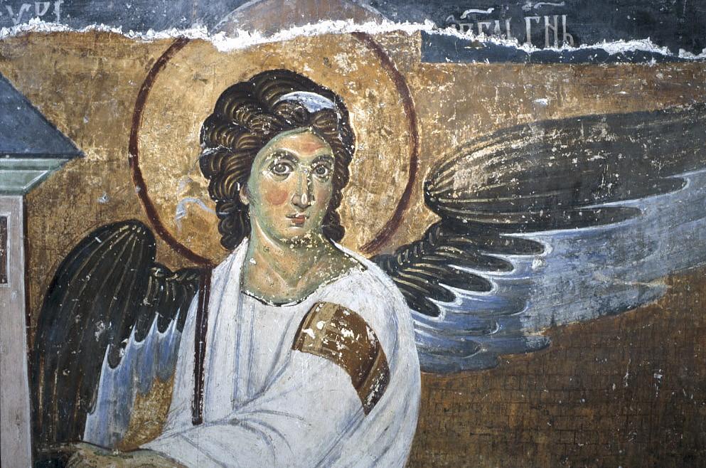Белый ангел. Фреска монастыря в Милешево, Сербия. XIII в. Фрагмент