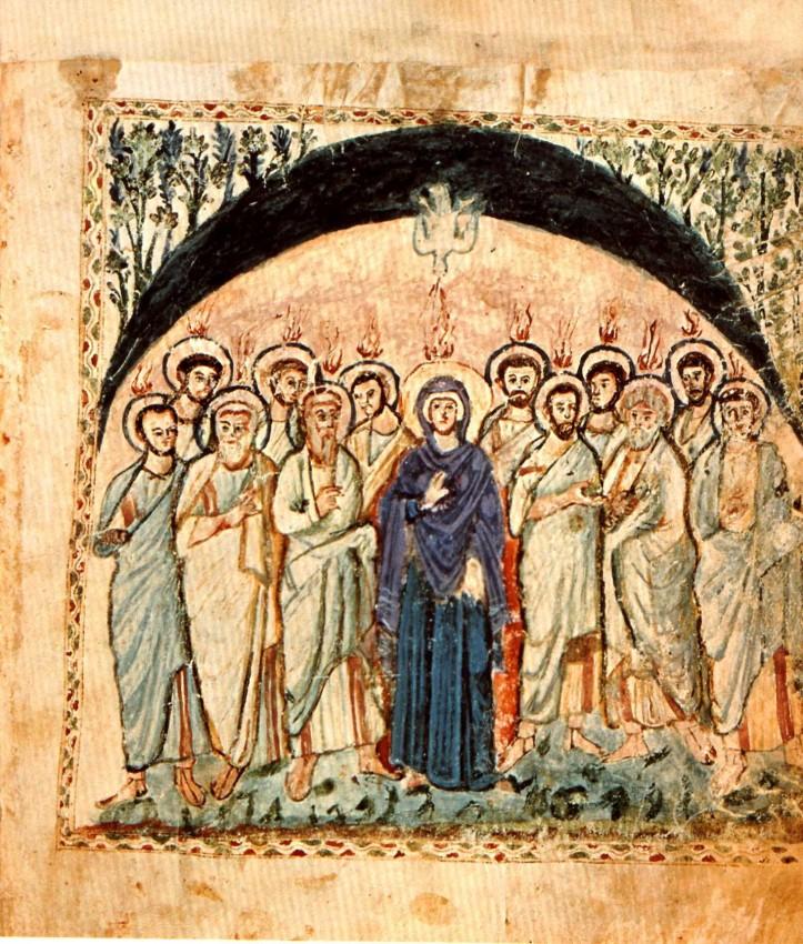 Пятидесятница. Евангелие Раввулы. fol. 14b