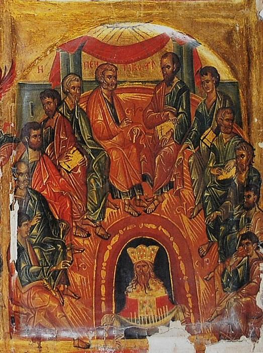 Пятидесятница. Фрагмент 4-х частной византийской иконы