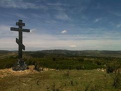 "In Spain, cross erected in memory of the ""White"" Russian Volunteer Army"