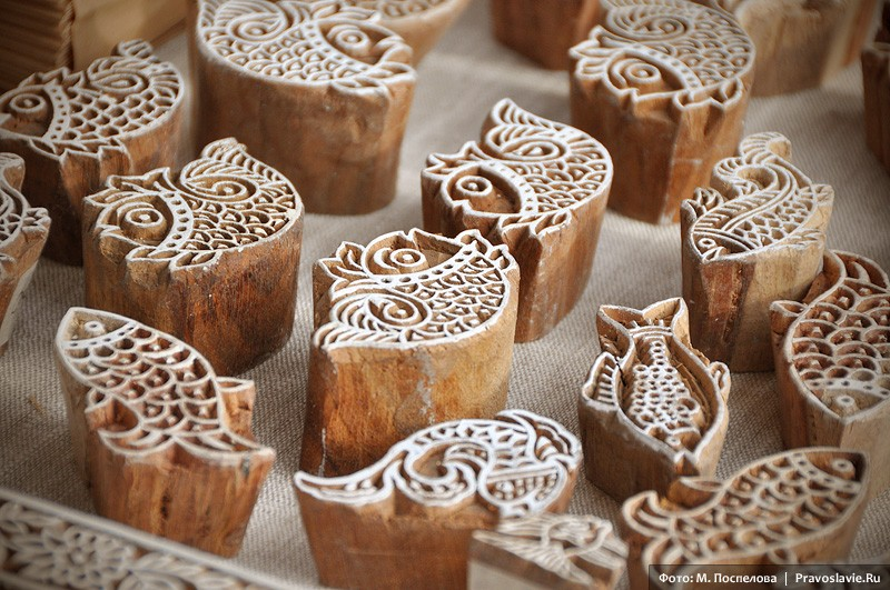 Деревянные штампики для набойки рисунка на ткань