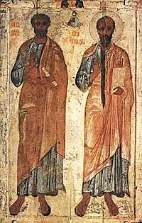 Святые первоверховные апостолы Петр и Павел (справа)