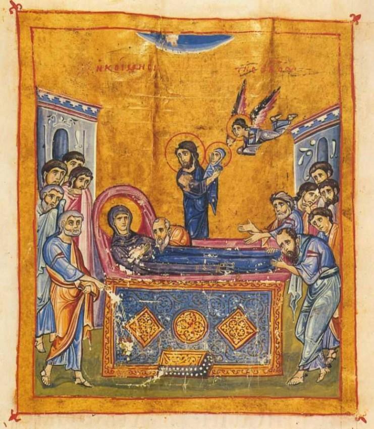 Успение Пресвятой Богородицы. Книжная миниатюра