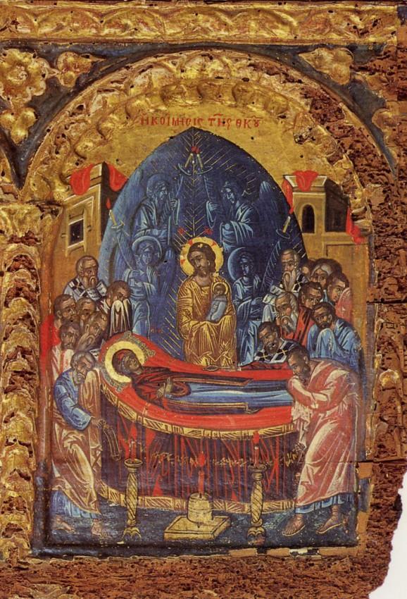 Успение Пресвятой Богородицы. Афон, монастырь Пантократор. Фрагмент иконы