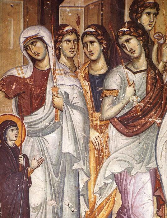 Введение во храм Пресвятой Богородицы. Панселин, XIII век. Карея, Афон (фрагмент)
