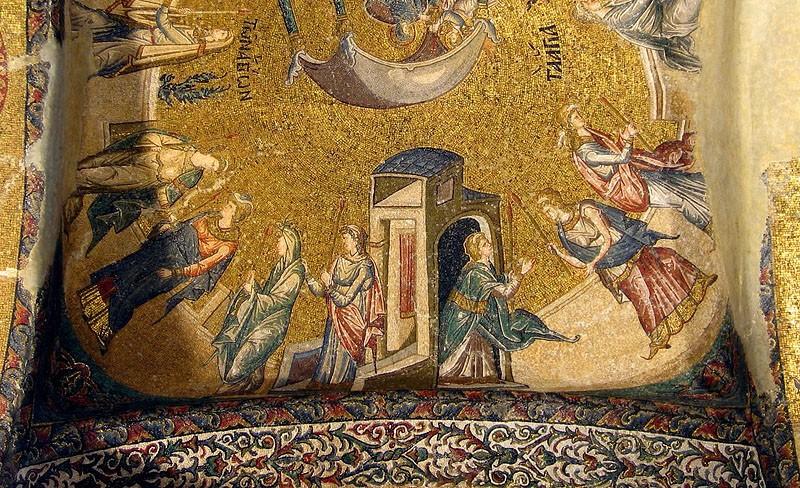 Введение во храм Пресвятой Богородицы. Мозаика монастыря Хора (фрагмент)