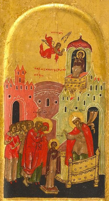 Введение во храм Пресвятой Богородицы. Walters art museum. Россия, XVI век (фрагмент)
